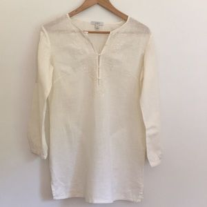 Ivory embroidered J. Crew linen tunic boho  XS/S